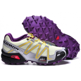 Zapatillas Salmon speed cross 3 Blanco, Amarillo y Morado