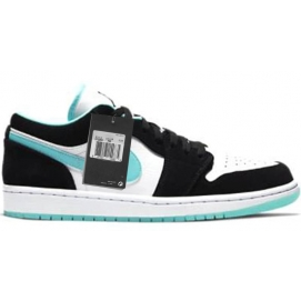 Zapatillas NK Air Jordan 1 Low negra y celeste