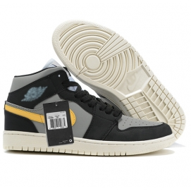 Zapatillas NK Air Jordan 1 Gris & Amarillo