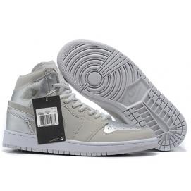 Zapatillas NK Air Jordan 1 Blancas & Plata