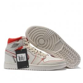 Zapatillas NK Air Jordan 1 Blancas perfil Rojo