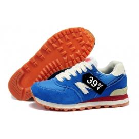 Zapatillas NB 574 Azul y Blaanco (Suela Naranja)