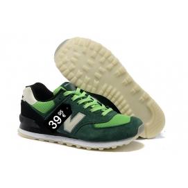 Zapatillas NB 574 Verde Oscuro y Verde Fluor