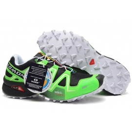 Zapatillas Salmon speed cross 3 Verde Fluor y Negro (Suela Blanca)