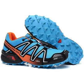 Zapatillas Salmon speed cross 3 Celeste y Naranja