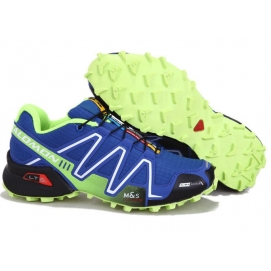 Zapatillas Salmon speed cross 3 Azul y Verde Fluor