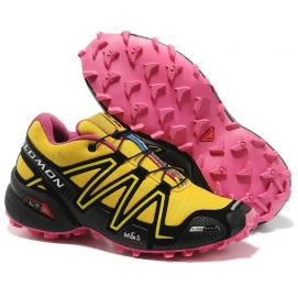 Zapatillas Salmon speed cross 3 Amarillo, Negro y Rosa